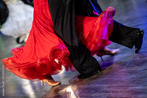 obraz lub plakat Dancing shoes feet and legs of female and male couple ballroom