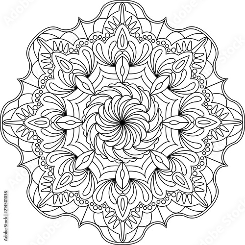Flower Ornament Circles Mandala Design Adult Coloring Page Vector Illustration