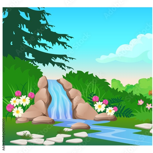 Foto Spatwand Turkoois Picturesque landscape with a waterfall on the forest river. Sketch of a beautiful poster or placard on the theme of wildlife nature. Vector cartoon close-up illustration.