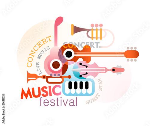 In de dag Abstractie Art Music Festival Design