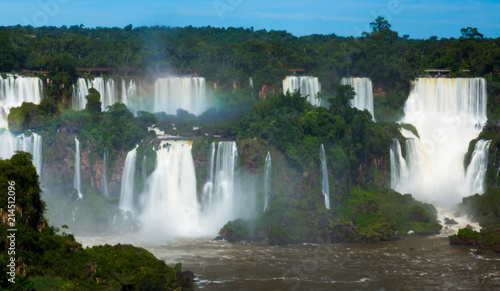 Waterfall Cataratas del Iguazu on Iguazu River, Brazil - 214512096
