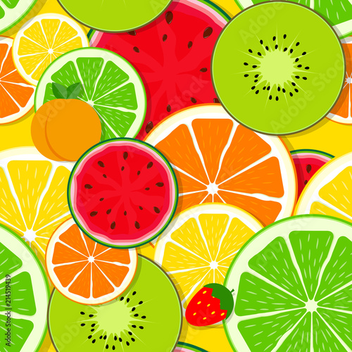 Mixed fruit Seamless Pattern background Vector Illustration - 214519439