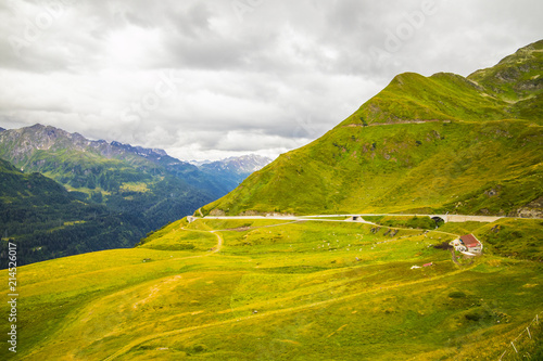 Foto Spatwand Honing Mountain hill path road panoramic landscape