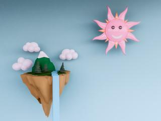 pastel floating island  background.3d render