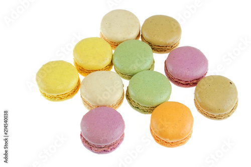 Foto Spatwand Macarons Colorful macarons isolated on the white background