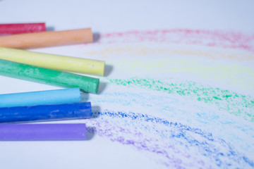 ulticolored crayons for drawing.isolated on a white background © yurolaitsalbert
