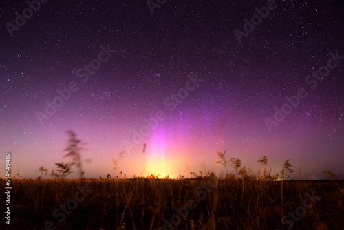 Canvas Noorderlicht Night landscape with northern lights. Aurora borealis