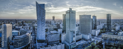 Warsaw city with modern skyscraper at sunset-Panorama - 214550071