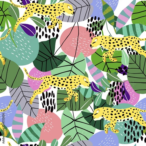 Fototapeta Leopard running on the background of tropical leaves vectorial seamless textile pattern.