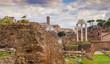 Quadro ruins of Roman Forum in Rome city, Italy