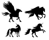 Silhouettes of mythical horses - vector illustration