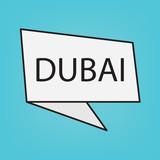 Dubai word on sticker- vector illustration
