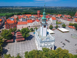 Aerial view of Chelmno with historical town hall, Poland - 214571097