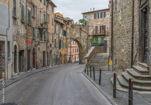 Perugia, Italy - Perugia is one of the most interesting cities in Umbria. Here in particular a view of the medieval Old Town and its narrow alleys