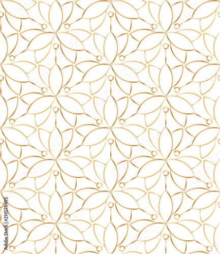 Seamless linear golden flower pattern on white background - 214575495