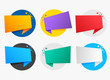 colorful origami symbols with text space