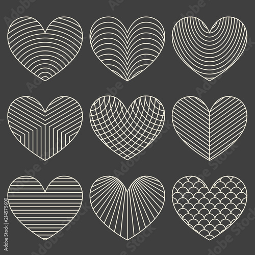 Linear minimalistic art deco heart set - 214575600