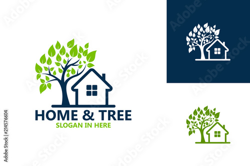 Home And Tree Nature Logo Template Design Vector, Emblem, Design Concept, Creative Symbol, Icon - 214576604