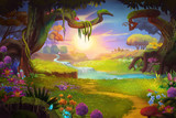 Fototapety Fantasy land, Grass and Hill, River and Tree with Fantastic, Realistic Style. Video Game's Digital CG Artwork, Concept Illustration, Realistic Cartoon Style Scene Design