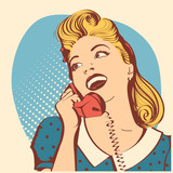 Fototapety Retro young woman with blond hair talking on phone.Vector pop art color illustration