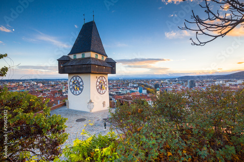 Leinwanddruck Bild Graz clock tower at sunset, Graz, Styria, Austria