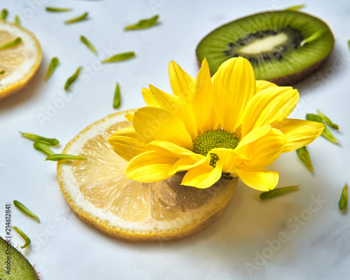 Close-up summer yellow flower, slices of kiwi, lemons and green flower petals. - 214612841