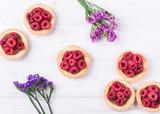 Sweet tartlet with raspberries