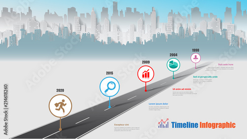 Business road map timeline infographic city designed for abstract background template milestone element modern diagram process technology digital marketing data presentation chart Vector illustration - 214618260