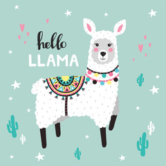 Cute Llama with cactuses. Childish print. Vector Illustrtion © 210484kate