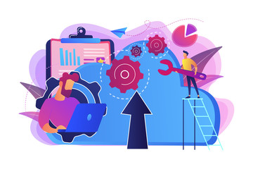 Developer working on laptop with cloud data. Computing applications, developing cloud system, cloud resourses solving business problems concept, violet palette. Vector isolated illustration.