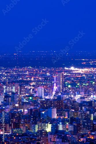 Canvas Donkerblauw 札幌夜景 幌見峠からの眺め