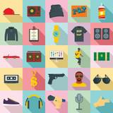 Hiphop rap swag music dance icons set. Flat illustration of 25 hiphop rap swag music dance vector icons for web - 214624026