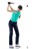 one caucasian woman woman golfer golfing in studio isolated on white background - 214627655
