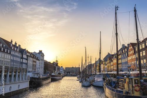 Copenhagen sunset city skyline at Nyhavn harbour, Copenhagen Denmark