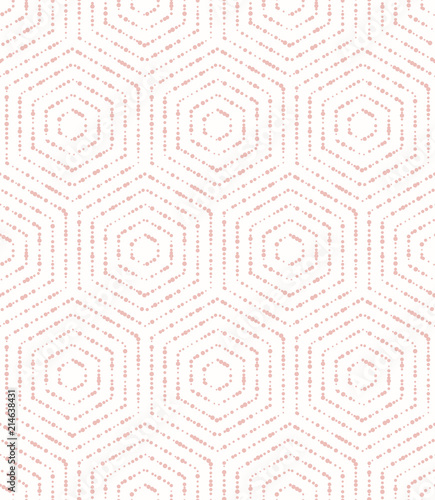 Geometric abstract hexagonal background. Geometric modern pink ornament. Seamless modern pattern - 214638431