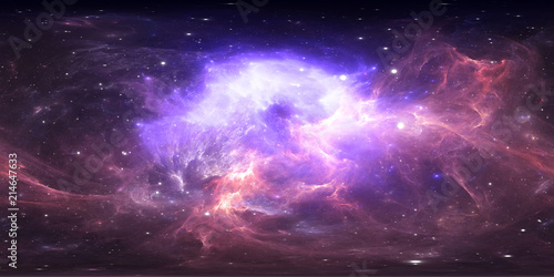 360 degree space nebula panorama, equirectangular projection, environment map. HDRI spherical panorama. Space background with nebula and stars.