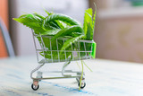 Buying, selling hemp. A shopping trolley with cannabis leaves on a wooden background. - 214651275