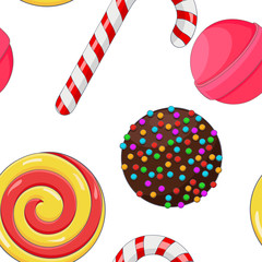 Candies and sweets. Colored background. Seamless pattern © savanno