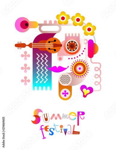 In de dag Abstractie Art Summer Festival poster design