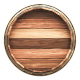 Wooden barrel isolated on white - Clipping mask included - 214665489