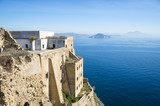 View from the abandoned walls of Terra Murata on Procida across the Bay of Naples to the mainland.
