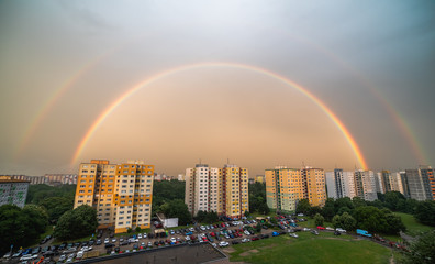 Double Rainbow at Sunset over Residential District Petrzalka, Bratislava, Slovakia. © kaycco