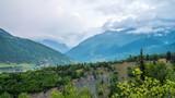 Towers in Mestia village in Svaneti area Caucasus mountains in Georgia