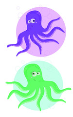 Octupus. Two funny cartoon octopus. Vector illustation. © Ekaterina