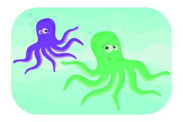 Octupus. Two funny cartoon octopus. Vector illustation.