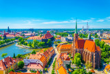 Aerial view of Wroclaw with church of our lady of the sand and church of the Holy Cross and St Bartholomew, Poland - 214687670