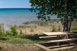 Picnic table at Lake Michigan
