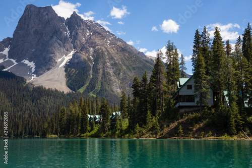 Cabins in Emerald Lake during a vibrant sunny summer day. Located in British Columbia, Canada. © edb3_16