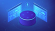 Isometric smart speaker and web pages. Voice activated digital control for websites and mobile applications, smart voice navigation concept. Blue violet background. Vector 3d illustration - 214698871