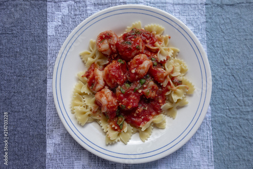 Shrimp in Sauce with Pasta - 214703228